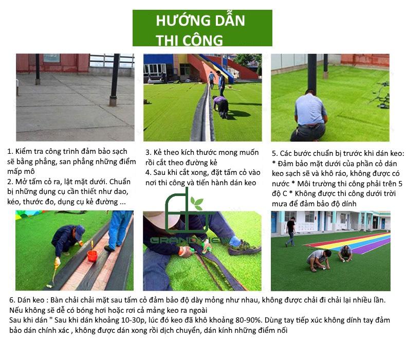 Cách thi công cỏ nhân tạo sân vườn