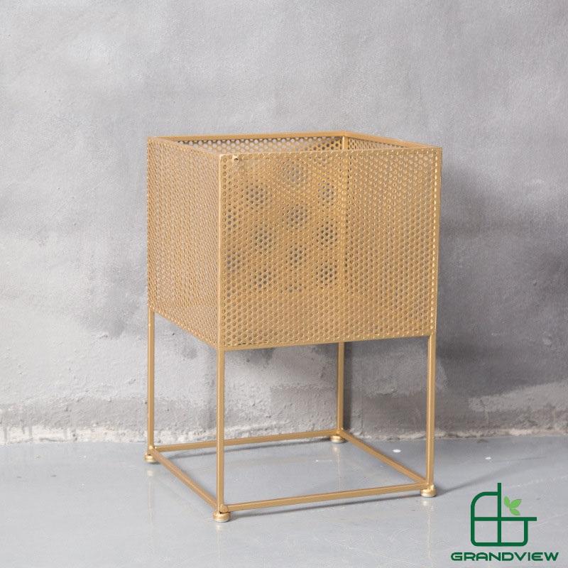 Chậu hoa khung kim loại CKL01 màu vàng