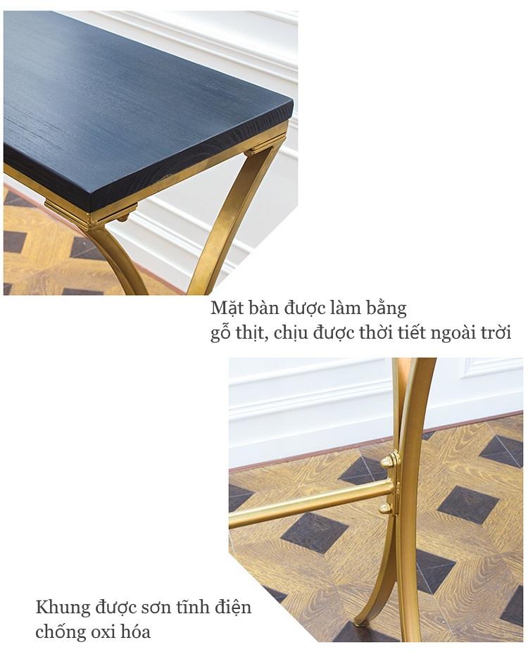 Mặt bàn màu đen và khung chân bàn