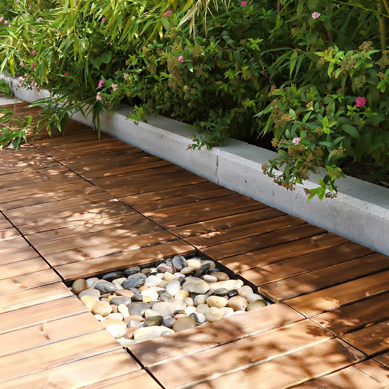 Sàn gỗ GA02 lắp đặt hành lang sân vườn