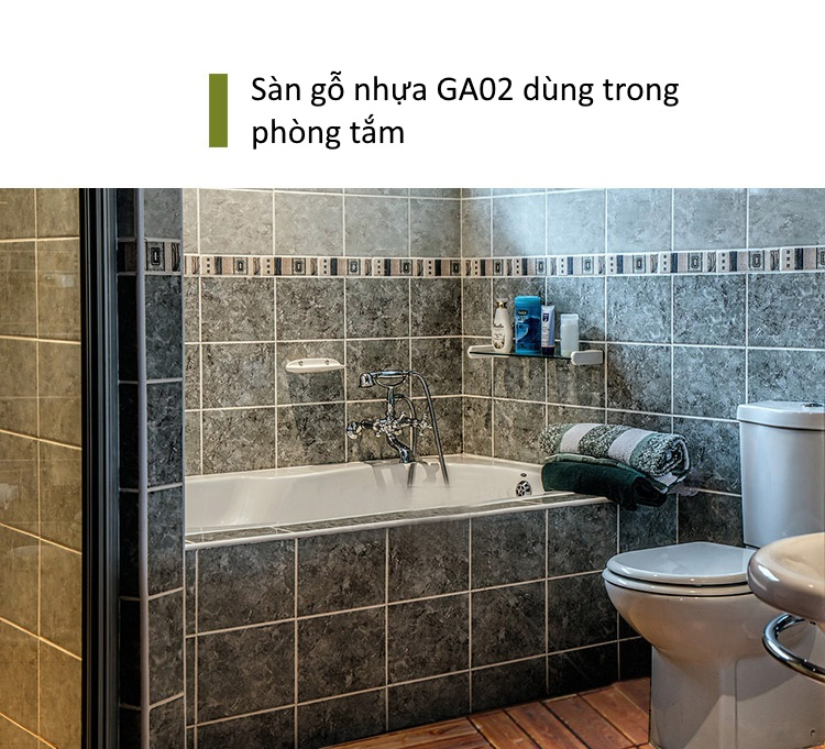 Sàn gỗ GA02 lắp đặt trong phòng tắm